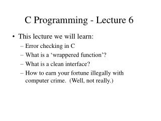 C Programming - Lecture 6