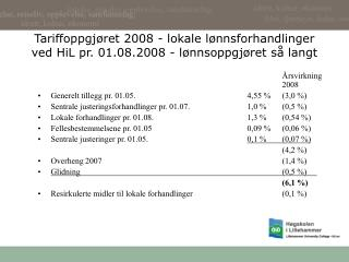 Tariffoppgj ret 2008 - lokale l nnsforhandlinger ved HiL pr. 01.08.2008 - l nnsoppgj ret s  langt