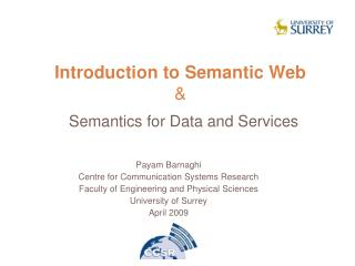 Introduction to Semantic Web   Semantics for Data and Services
