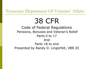 Tennessee Department Of Veterans  Affairs