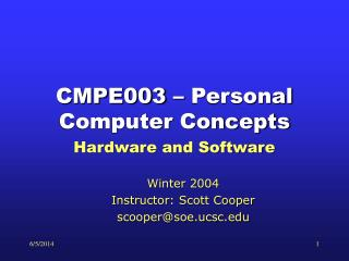 CMPE003   Personal Computer Concepts