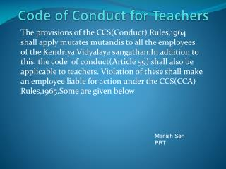 Code of Conduct for Teachers