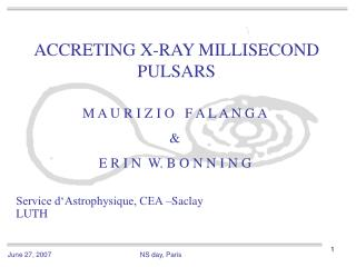 ACCRETING X-RAY MILLISECOND PULSARS