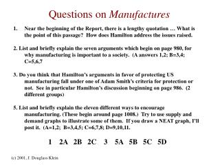 Questions on Manufactures