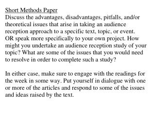 Short Methods Paper Discuss the advantages, disadvantages, pitfalls, and