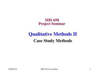 MIS 650 Project Seminar