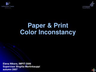 Paper  Print Color Inconstancy