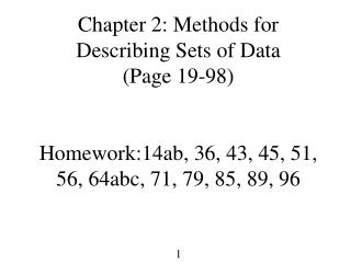 Chapter 2: Methods for Describing Sets of Data Page 19-98   Homework:14ab, 36, 43, 45, 51, 56, 64abc, 71, 79, 85, 89, 96