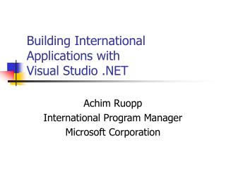 Building International Applications with  Visual Studio