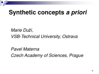 Synthetic concepts a priori