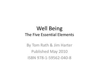 Well Being The Five Essential Elements