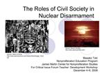 The Roles of Civil Society in Nuclear Disarmament