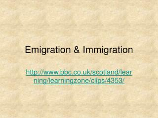 Emigration  Immigration