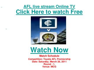 watch Adelaide Crows vs Hawthorn live Streaming Toyota AFL P