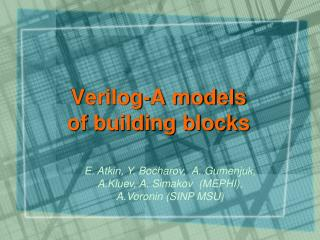 Verilog-A models  of building blocks