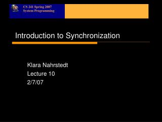 Introduction to Synchronization