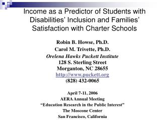 Income as a Predictor of Students with Disabilities  Inclusion and Families  Satisfaction with Charter Schools