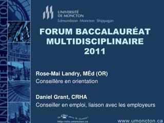 FORUM BACCALAUR AT MULTIDISCIPLINAIRE 2011