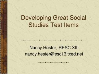Developing Great Social Studies Test Items