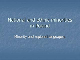 National and ethnic minorities in Poland