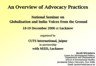 An Overview of Advocacy Practices
