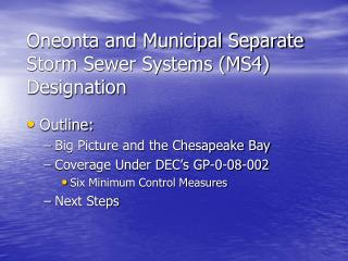Oneonta and Municipal Separate Storm Sewer Systems MS4 Designation