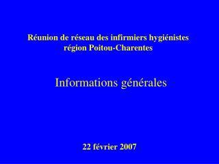 R union de r seau des infirmiers hygi nistes r gion Poitou-Charentes