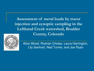 Assessment of metal loads by tracer injection and synoptic sampling in the Lefthand Creek watershed, Boulder County, Col