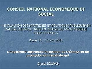 CONSEIL NATIONAL ECONOMIQUE ET SOCIAL     EVALUATION DES STRATEGIES ET POLITIQUES PUBLIQUES EN MATIERE D EMPLOI : MISE E