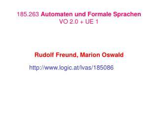 185.263 Automaten und Formale Sprachen VO 2.0  UE 1