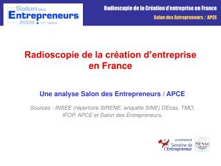 Radioscopie de la cr ation d entreprise en France
