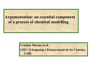 Argumentation: an essential component of a process of chemical modelling