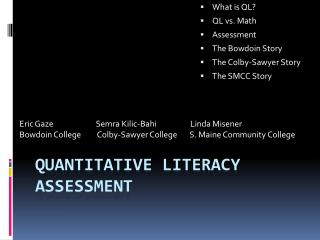 Quantitative Literacy assessment