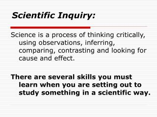 Scientific Inquiry: