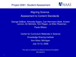Aligning Science  Assessment to Content Standards