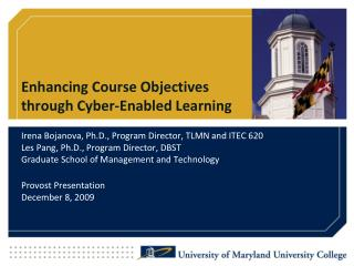 Enhancing Course Objectives  through Cyber-Enabled Learning