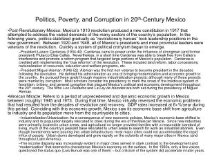 Politics, Poverty, and Corruption in 20th-Century Mexico