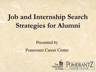 Job and Internship Search Strategies for Alumni