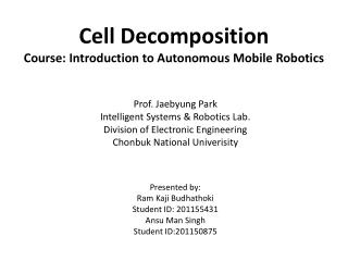 Cell Decomposition Course: Introduction to Autonomous Mobile Robotics