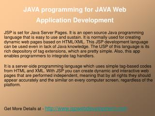JAVA programming for JAVA Web Application Development