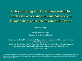 Interviewing for Positions with the Federal Government and Advice on Promoting your Professional Career