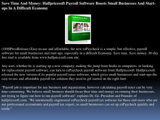 Save Time And Money: Halfpricesoft Payroll Software Boosts S