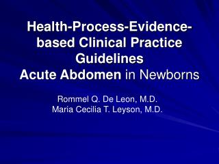 Health-Process-Evidence-based Clinical Practice Guidelines Acute Abdomen in Newborns