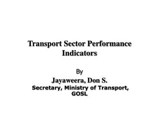 Transport Sector Performance Indicators