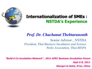 Internationalization of SMEs : NSTDA s Experience