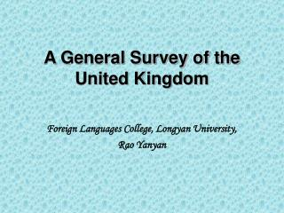 A General Survey of the United Kingdom