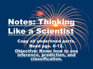 Notes: Thinking Like a Scientist