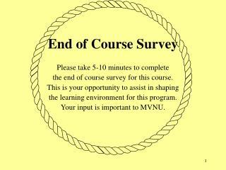 End of Course Survey