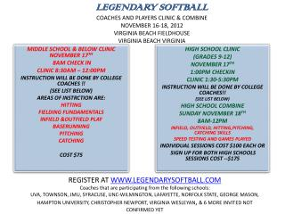 LEGENDARY SOFTBALL COACHES AND PLAYERS CLINIC  COMBINE NOVEMBER 16-18, 2012 VIRGINIA BEACH FIELDHOUSE VIRGINIA BEACH VIR