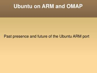 Ubuntu on ARM and OMAP